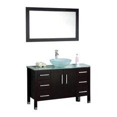 "Cambridge 48"" Solid Wood Glass Vessel Sink Vanity Set, Brushed Nickel Faucet"