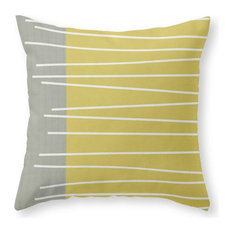 "Midcentury Modern Textured Stripes Pillow Cover, 18""x18"" With Pillow Insert"