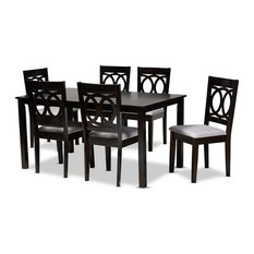 Lenoir Modern Grey Fabric Espresso Brown Finished Wood 7-Piece Dining Set