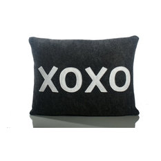 """XOXO"" Decorative Pillow, Charcoal and White"
