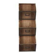 Burdock Wood Wall Vertical Storage Pockets, Rustic Brown