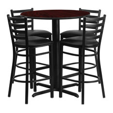Offex 30 Round Laminate Table Set With 4 Ladder Back Barstools, Mahogany/Black by Offex