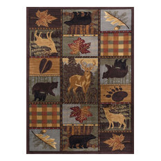 Colorblock Wildlife Novelty Lodge Multi Rectangle Area Rug, 9' x 12'