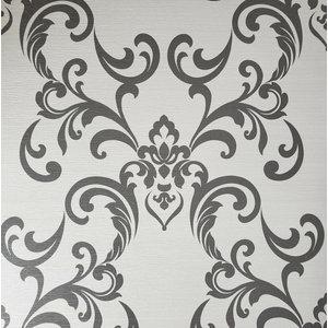 Ombre Plaid Wallpaper charcoal black gray silver Metallic Texture vine Leaves 3D