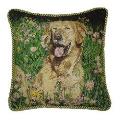 Golden Retriever Petit Point Pillow