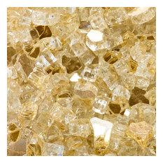"""1/2"""" Reflective Tempered Fire Glass, Sunstorm Gold, 10 lb. Jar"""