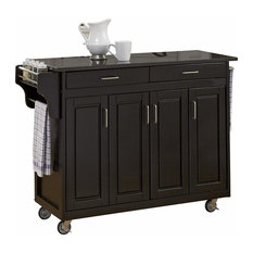 Modern Cabinet Kitchen Cart With Black Granite Top, 2 of the Casters Lockable