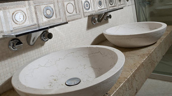 White sandblasted Perlino sinks