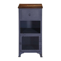Savannah Trendy Industrial Iron & Mango Wood Accent Cabinet Nightstand