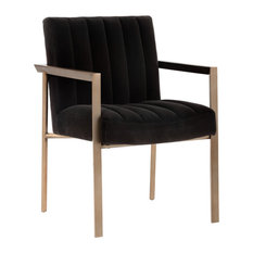 Odilo Armchair Antique Brass Giotto Shale Gray Fabric