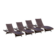 GDF Studio Lakeport Outdoor Adjustable Chaise Lounge Chairs, Set of 4