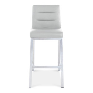 Lynx Counter Height Contemporary Stool With Metal Base, Gray