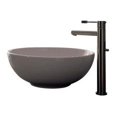 Round White Ceramic Vessel Sink, No Hole