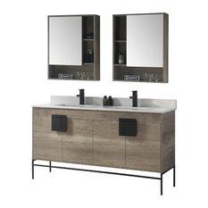 "Shawbridge 60"" Double Sink Bathroom Vanity, Gray, Black Hardware"