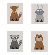 "Woodland Animals Print, 4-Piece Set, Neutral, 8"""