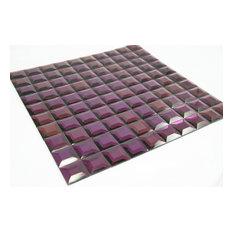 "11.75""x11.75"" Lynn Mirror Glass Mosaic Tile Sheet, Purple"