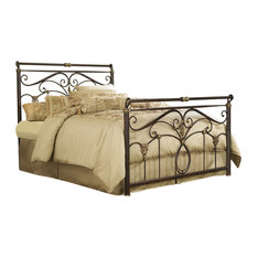 Lucinda Bed With Metal Scrollwork and Sleighed Top Rail Panels, King