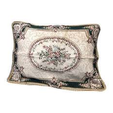 Tache Chenille Woven Floral Medallion Green Forest Pillowcases, 2 Piece