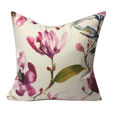 """Watercolor Flowers and Bird Motif PIllow, Magenta, 18"""", Without Insert"""