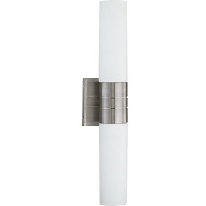 Link 2 Light - (Vertical) Tube Wall Sconce With White Glass