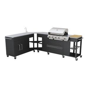 vidaXL Missouri Outdoor Kitchen Barbecue, 4-Burner