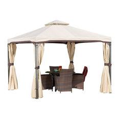 GDF Studio Sonoma Outdoor Gazebo Canopy With Net Drapery, Light Brown