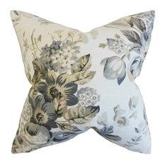 """Quela Floral Pillow, Pewter 20""""x20"""""""