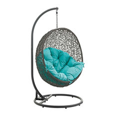 Hide Outdoor Patio Swing Chair With Stand, Gray Turquoise