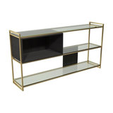 Federico Low Bookcase, Black Stained Oak, Brass Accent