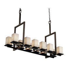 Limoges Montana Up and Downlight Bridge Chandelier, Square With Flat Rim