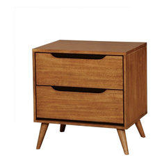 Mid-century Modern Nightstand Wood 2-Drawer And Round Tapered Legs