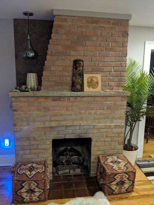 Oddly Shaped Brick Fireplace, Can I Cover My Brick Fireplace With Stone