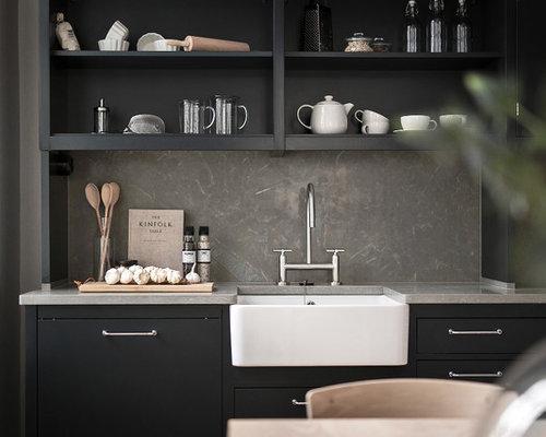 skandinavische k chen mit kalkstein arbeitsplatte ideen design bilder houzz. Black Bedroom Furniture Sets. Home Design Ideas