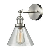 Industrial Edison Antique 1-Light Wall Sconce, Brushed Nickel