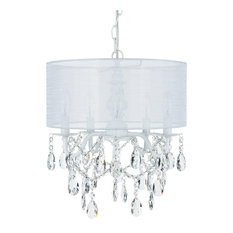 5-Light Crystal Plug-In Chandelier With Cylinder Shade, White, Luna Collection