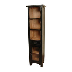 Sunset Trading Cottage Tall Narrow Cabinet, Antique Black With Salvage Inside