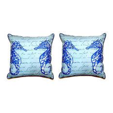 Pair of Betsy Drake Blue Sea Horses Small Pillows 12 Inch X 12 Inch