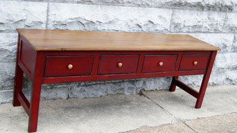 84 inch media center, Distressed red media console.