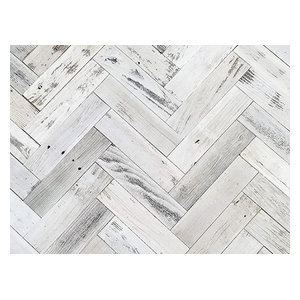 "Herringbone Reclaimed Barn Wood Planks  3"", 20 Sq Ft. Whitewash"