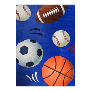 Blue Sports Design Super Soft Kids Children's Area Rug Carpet Pad 55
