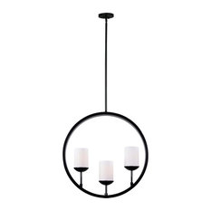 """Kenroy Home 93476 Barringer 3 Light 24"""" Wide Linear Chandelier with Frosted Whi"""