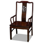 China Furniture and Arts - Rosewood Chinese Dragon Carving Arm Chair - Made of solid rosewood, the center panel and the sides form a unity of graceful lines on this open back arm chair. Carefully designed to comfortably fit the curvature of your back, the one panel supports your back and waist as comfortably as any other design. Constructed with the traditional joinery technique for long lasting durability, the legs are carved in a unique horseshoe shape. A delicately carved dragon motif takes the center of the back with an eye-catching effect. The hand applied mahogany wood stain enhances the beauty of rosewood. Silk cushions are sold separately.
