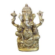 "Mogul Interior.com - Ganesha Statue Spiritual Indian Art Sculpture Hindu Decor Brass Figurine 6.5"" - Decorative Objects And Figurines"