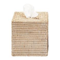 DWBA Malacca Square Tissue Box Holder Cover Tray Dispenser Tissue Case, Rattan