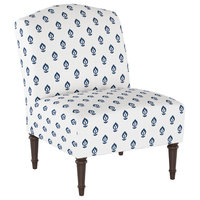 Camel Back Chair in Elizabeth Floral Navy