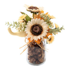 "9.5"" Cream Sunflowers, Pinecone Jar"