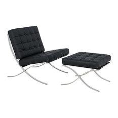 Melba Lounge Tufted Modern Chair and Ottoman, 2-Piece Set, Black