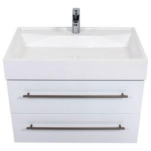 Emotion Design 750 Bathroom Furniture, White High-Gloss, 80 cm, White High-Gloss