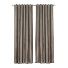 """Leila Solid Embroidered Blackout Window Curtain Panel, Dark Taupe, 52""""x84"""""""