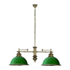 Lido 2-Light Pendant, Green Glass Shade, Small